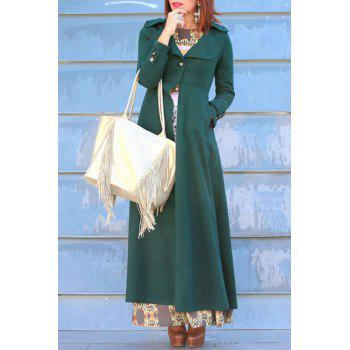 Graceful Solid Color Turn-Down Collar Tunic Maxi Coat For Women