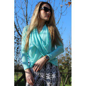 Women's Stylish Long Sleeve Solid Color Cross Pullover Sweater - AZURE S