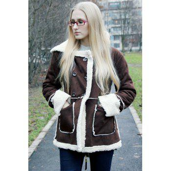 Faux Shearling Double Breasted Coat - COFFEE M