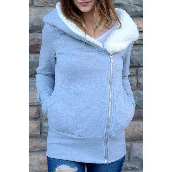 Korea Women Hoodie Jacket Coat Warm Outerwear hooded Zip