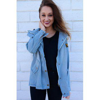 Denim Jacket With Hooded Waistcoat - LIGHT BLUE L