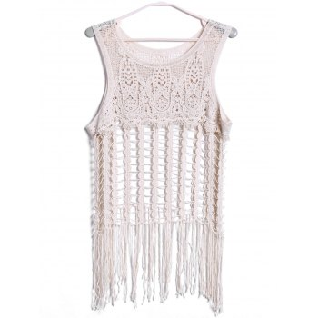 Sexy Scoop Neck Sleeveless Cut Out Tassels Solid Color Women's Tank Top