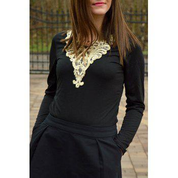 Fashionable V-Neck Lacework Splicing Long Sleeve T-Shirt For Women - BLACK L