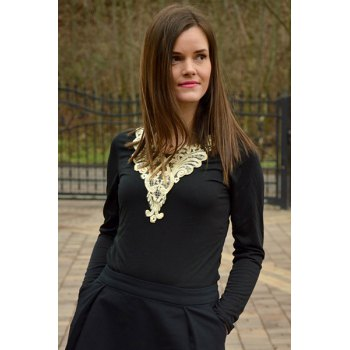 Fashionable V-Neck Lacework Splicing Long Sleeve T-Shirt For Women - BLACK BLACK