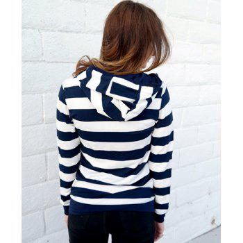 Long Sleeve Zippered Striped Women's Hoodie - BLUE/WHITE S