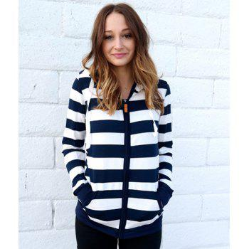 Long Sleeve Zippered Striped Women's Hoodie - BLUE/WHITE M