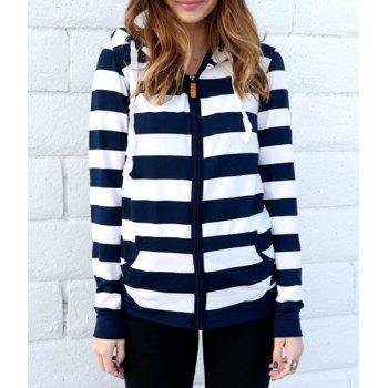 Long Sleeve Zippered Striped Women's Hoodie