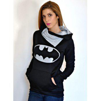 Chic Hooded Long Sleeves Printed Pocket Design Women's Hoodie - L L