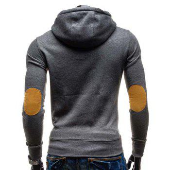Slimming Hooded Stylish Oblique Button Patched Splicing Long Sleeve Cotton Blend Men's Hoodie - GRAY L