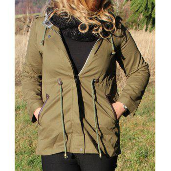 Stylish Long Sleeve Hooded Spliced Waist Drawstring Women's Trench Coat