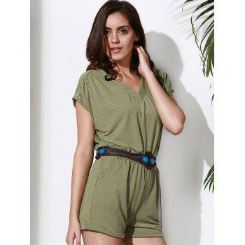 Casual Style V Neck Short Sleeve Solid Color Women's Romper - XL XL