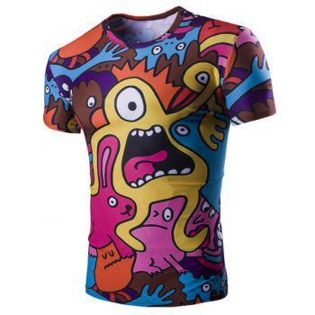 Funny Cartoon Print Short Sleeves Round Neck Men's T-Shirt