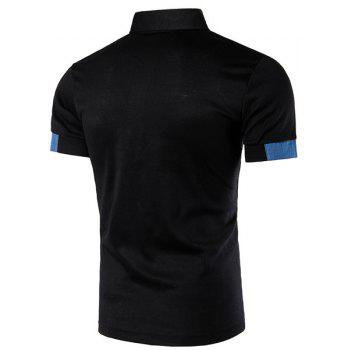 Denim Spliced Color Block Turn-down Collar Short Sleeves Men's Polo T-Shirt - BLACK BLACK