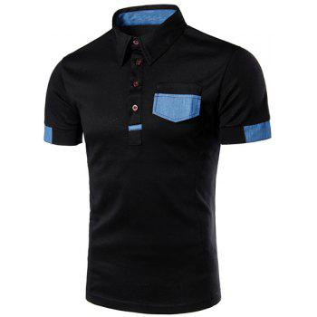 Denim Spliced Color Block Turn-down Collar Short Sleeves Men's Polo T-Shirt