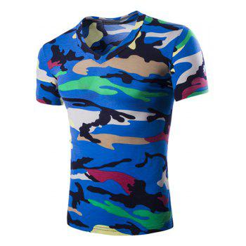 Camouflage Loose Fit Short Sleeves V-Neck Men's T-Shirt - BLUE BLUE