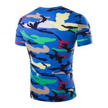 Camouflage Loose Fit Short Sleeves V-Neck Men's T-Shirt - BLUE XL