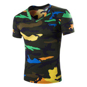 Camouflage Loose Fit Short Sleeves V-Neck Men's T-Shirt - BLACKISH GREEN BLACKISH GREEN