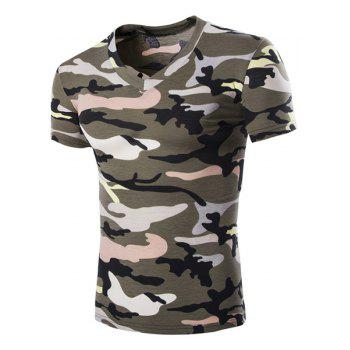 Camouflage Loose Fit Short Sleeves V-Neck Men's T-Shirt - ARMY GREEN ARMY GREEN