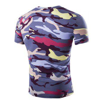 Camouflage Loose Fit Short Sleeves V-Neck Men's T-Shirt - PURPLE PURPLE