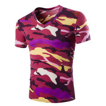 Camouflage Loose Fit Short Sleeves V-Neck Men's T-Shirt - RED RED