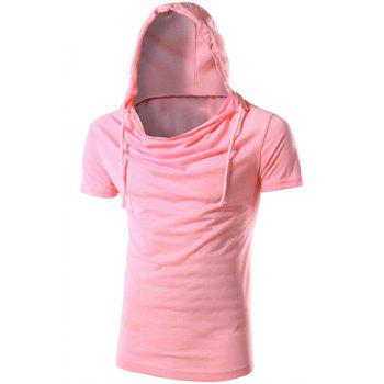 Vogue Hooded Solid Color Short Sleeves Men's Slimming T-Shirt - PINK PINK