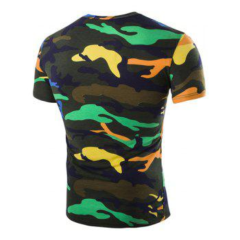 Vogue Round Neck Camo Print Short Sleeves Men's Loose Fit T-Shirt - BLACKISH GREEN M