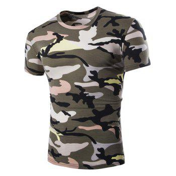 Vogue Round Neck Camo Print Short Sleeves Men's Loose Fit T-Shirt - ARMY GREEN ARMY GREEN