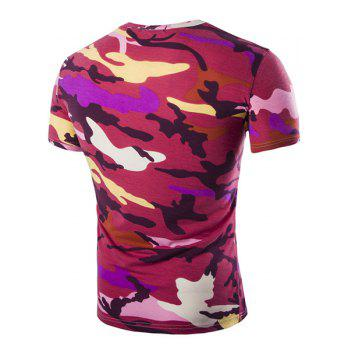 Vogue Round Neck Camo Print Short Sleeves Men's Loose Fit T-Shirt - RED RED