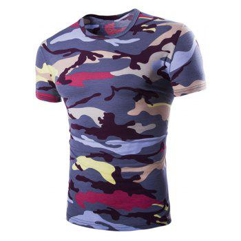 Vogue Round Neck Camo Print Short Sleeves Men's Loose Fit T-Shirt