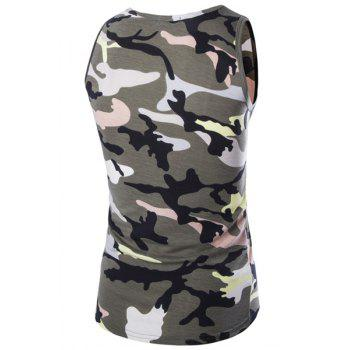 Casual Round Neck Men's Camo Tank Top - ARMY GREEN ARMY GREEN