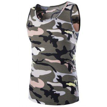 Casual Round Neck Men's Camo Tank Top