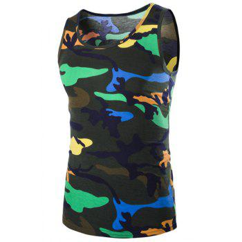 Casual Round Neck Men's Camo Tank Top - BLACKISH GREEN BLACKISH GREEN