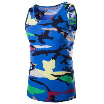 Casual Round Neck Men's Camo Tank Top - BLUE BLUE