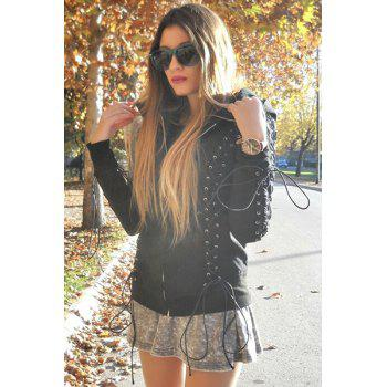 Chic Hooded Long Sleeve Zippered Lace-Up Women's Hoodie - BLACK S
