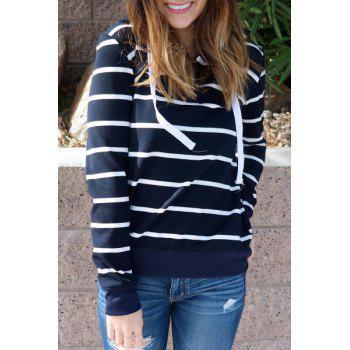 Stylish Hooded Long Sleeve Striped Drawstring Women's Hoodie