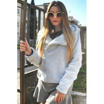 Women's Chic Long Sleeve Pure Color Hoodie - GRAY S
