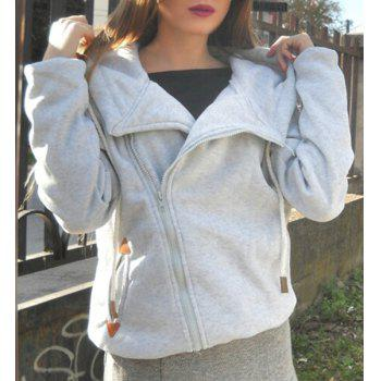 Women's Chic Long Sleeve Pure Color Hoodie