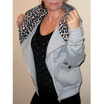 Casual Style Long Sleeve Hooded Leopard Print Women's Zip Up Hoodie
