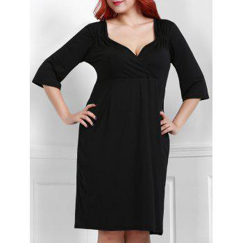 Noble 3/4 Sleeve Sweetheart Neck Bodycon Women's Black Dress