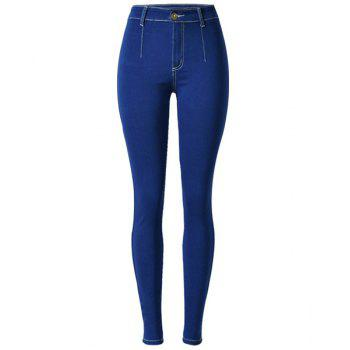 Trendy High-Waisted Slimming Elastic Blue Women's Jeans - DEEP BLUE M