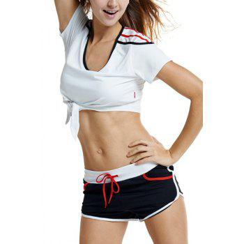 Active Women's U-Neck Self-Tie Short Sleeve Crop Top and Shorts Twinset