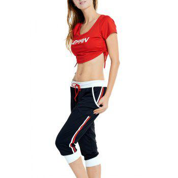 Active Women's U-Neck Letter Print Short Sleeve Crop Top and Pants Twinset - RED/BLACK 2XL