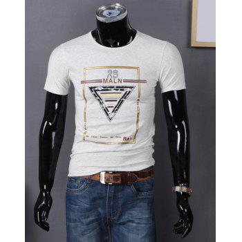Round Neck Letters and Geometric Print Color Block Short Sleeve T-Shirt For Men - GRAY GRAY