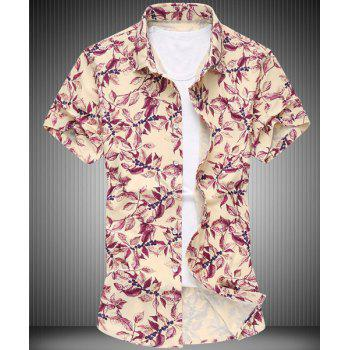 Casual Turn-down Collar Leaves Print Men's Short Sleeves Shirt