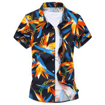 Vogue Turn-down Collar Bamboo Leaf Chain Print Men's Short Sleeves Shirt