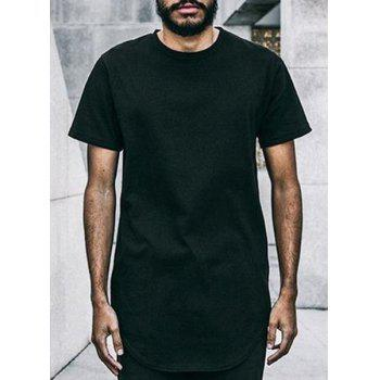 Trendy Loose-Fitting Round Neck Pure Color Short Sleeve Men's Long T-Shirt