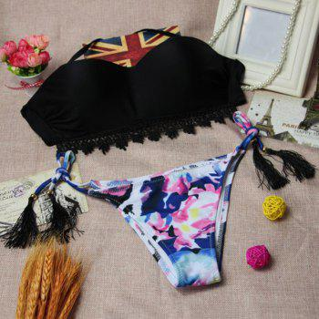 Chic Halter Ruffles High-Cut Colorful Printed Briefs Bikini For Women