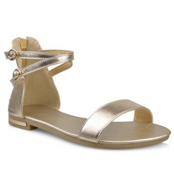Simple Zipper and PU Leather Design Sandals For Women