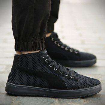 Casual Mesh and Lace-Up Design Sneakers For Men - BLACK 41