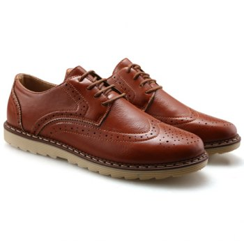 Trendy PU Leather and Engraving Design Formal Shoes For Men - BROWN 42